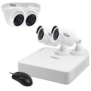 Kit de Vigilância Vizzion VZ-KIT0804 DVR + 4 Câmeras 8Canais HD TVI 720p - Branco