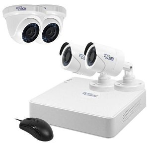 Kit de Vigilância Vizzion VZ-KIT0804-1TB DVR + 4 Câmeras 8Canais 720p HD TVI - Branco