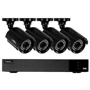 Kit CFTV QSee HD QTH83-4CN 8 Canais H.264 + 4 Câmeras de Interior/Exterior – Preto