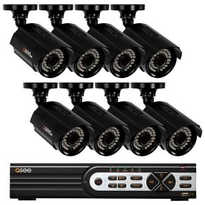 Kit CFTV QSee HD QTH163-8Z3 16 Canais H.264 + 8 Câmeras Interior/Exterior – Preto