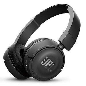 Fone de Ouvido Sem Fio JBL T450BT bluetooth/11 horas de reprodução/microfone – Preto