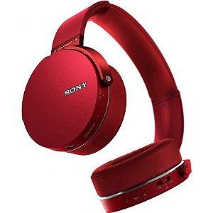 Fone Ouvido Sony Bluetooth Com Microfone Mdr-Xb650bt Vermelho