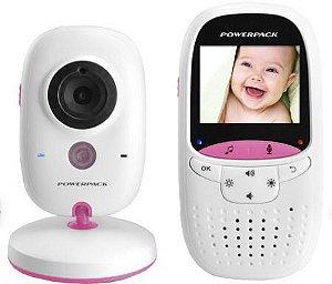 Babá Eletrônica Wireless com Monitor Powerpack MTV23 Bivolt  Branco e Rosa