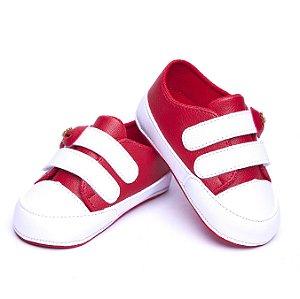 Tenis Baby Couro Ecológico. Vermelho e Branco. Fecho Velcro.