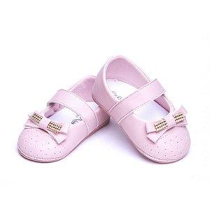 Sapato Baby Couro Ecológico. Cor Rosa Chá. Fecho Velcro. Super Leve.