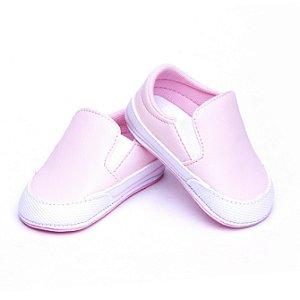 Tenis Baby Couro Ecológico. Rosa e Branco.