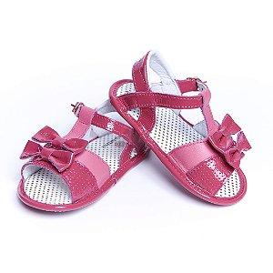 Sandália Baby. Couro Legítimo. Pink Lacinho.