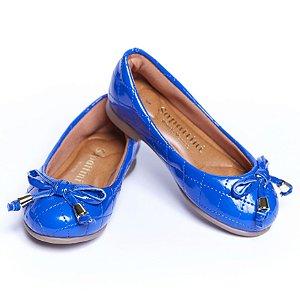 Sapatilha Couro Sintético. Verniz Matelassê Azul