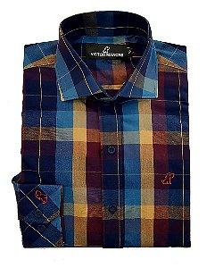 Camisa masculina xadrez manga longa victor mancini fio50