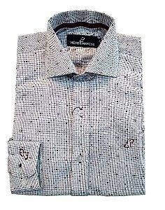 Camisa masculina cinza clara fio 50 manga longa
