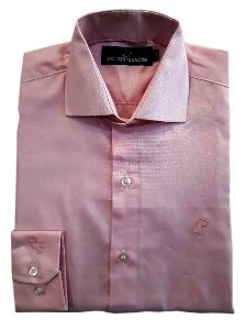 Camisa masculina rosa claro manga longa fio50