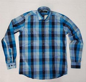 Camisa masculina xadrez azul manga longa fio 50