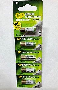 Bateria A27 12 Volts - Cartela com 5 peças GP, Sanyo ou Toshiba