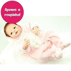 Macacão Rosa para Bebê Reborn 55cm - Somente a Roupinha!