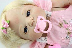 Bebe Reborn Bárbara Loira 57 CM Inteira em Silicone