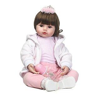 Bebê Reborn Malu 60cm com Linda Jaqueta - Pronta Entrega!