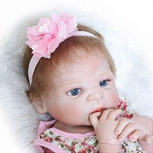 Bebe Reborn Laurinha inteira em silicone com 55cm