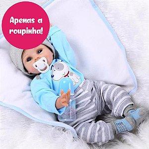 Enxoval para Bebê Reborn Meninos de 55cm - Somente a Roupinha!