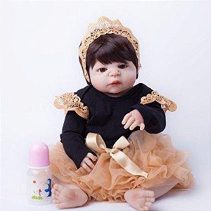 Bebe Reborn Princesa Sarah (Aurora) Inteira em Silicone 55 cm- Pronta Entrega