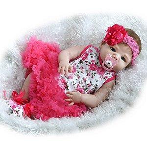 Bebe Reborn Naty Inteira em Silicone - Pronta Entrega
