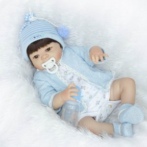 Bebe Reborn Menino 55cm Jeff Inteiro em Silicone