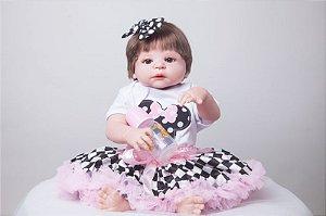 Bebe Reborn Dafini com 55cm, Inteira em Silicone - Pronta Entrega