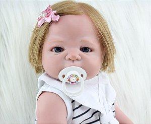 Bebe Reborn Bibi Inteira em Silicone com Cabelo Humano (EXCLUSIVA)