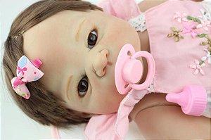 Bebe Reborn Lindsay 58cm Inteira em Silicone - Pronta Entrega