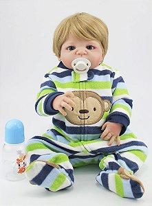 Bebe Reborn Theo com 55Cm Inteiro em Silicone - Pronta Entrega!