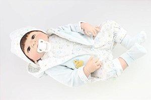 Bebe Reborn Matheus com 55cm, Inteiro em Silicone - Pronta Entrega