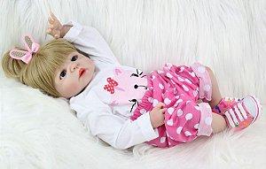 Bebe Reborn Eloa com 55cm e Inteira em Silicone - Pronta Entrega