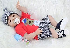 Bebe Reborn Heitor com 55cm Inteiro em Silicone - Pronta Entrega