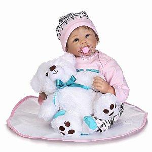 Bebe Reborn Mariana 55cm com Urso de Brinde!
