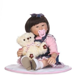 Bebe Reborn Sayuri com 55cm com Ursinho.
