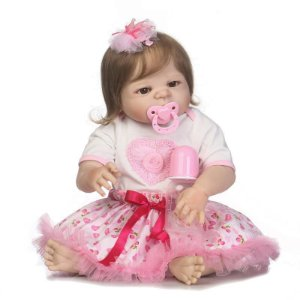 Bebe Reborn Vivian 55cm Inteira em Silicone e Cabelos Enraizados