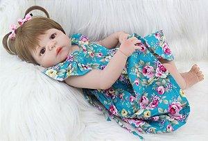Bebe Reborn Kristen 55cm, Inteira em Silicone - Pronta Entrega Exclusiva