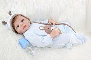 Bebe Reborn Maicon com 55cm - Inteiro em Silicone - Pronta Entrega