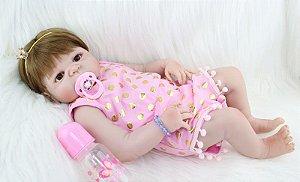 Bebe Reborn Liz 55cm, Inteira em Silicone e Pronta Entrega!
