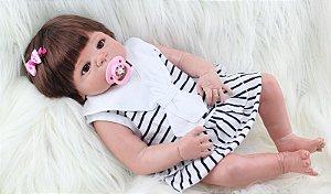Bebe Reborn Nina com 55cm, Inteira em Silicone e Pronta Entrega