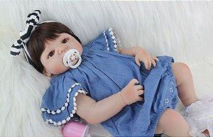 Bebe Reborn Barbara Look Fashion Inteira em Silicone - Pronta Entrega