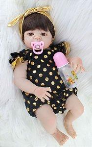 Bebe Reborn Bebel Morena 2018 Inteira em Silicone - Pronta Entrega
