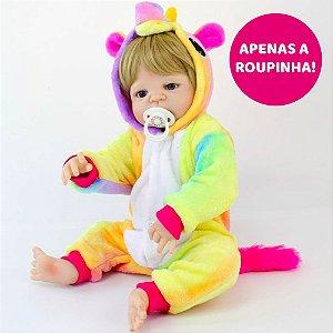 Kigurumi de Unicórnio Colorido para Bebê Reborn 55cm - Somente a Roupinha!