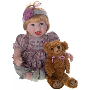 Bebê Reborn Laura Doll Diana 50cm com Ursinho Especial