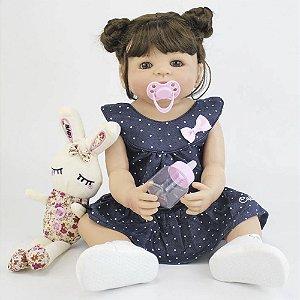 Bebê Reborn Luana em Silicone com Coelhinho e Vestidinho - Pronta Entrega!