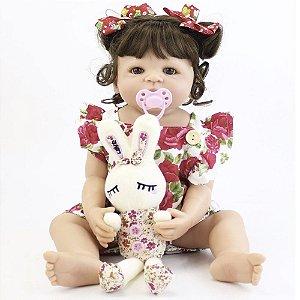Bebê Reborn Sofia em Silicone com Vestidinho Floral e Coelhinho - Pronta Entrega!