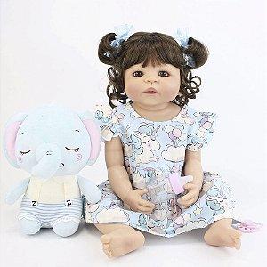 Bebê Reborn Stephanie em Silicone com Elefantinho 55cm - Envio Imediato!