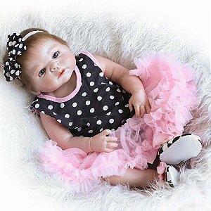 Bebê Reborn Fernanda 55cm com Vestido de Bolinhas - Envio Imediato!