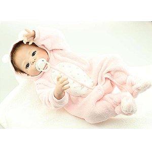 Bebê Reborn Karen 55cm com Macacão Rosa - Envio Imediato!
