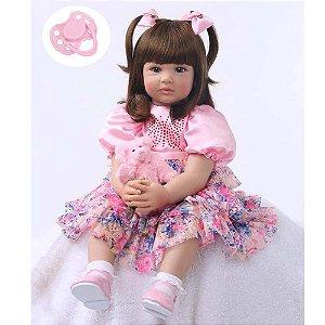 Bebê Reborn Isabela 60cm com Lindo Vestido Floral - Pronta Entrega!