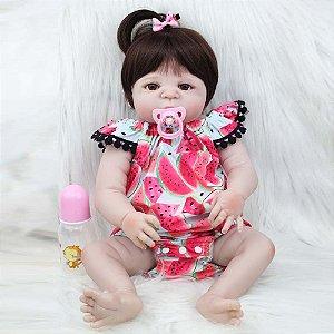 Bebê Reborn Sâmia 55cm com Macacão de Melancia - Pronta Entrega!